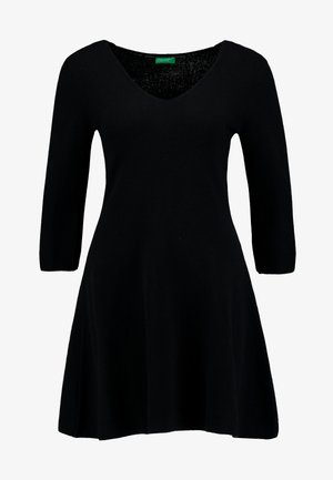VNECK SKATER DRESS - Pletené šaty - black