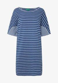 Benetton - DRESS - Vestito di maglina - blue/white - 3