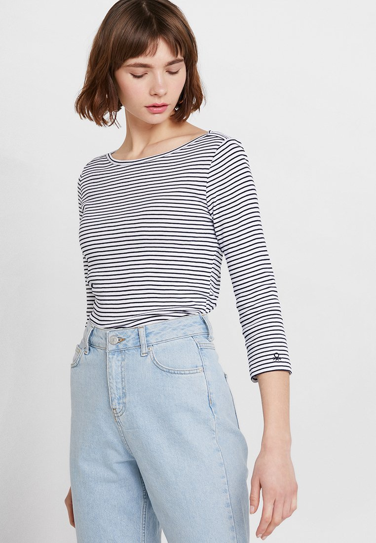 Benetton - 3/4 SLEEVE BOATNECK STRIPED - Long sleeved top - white/navy