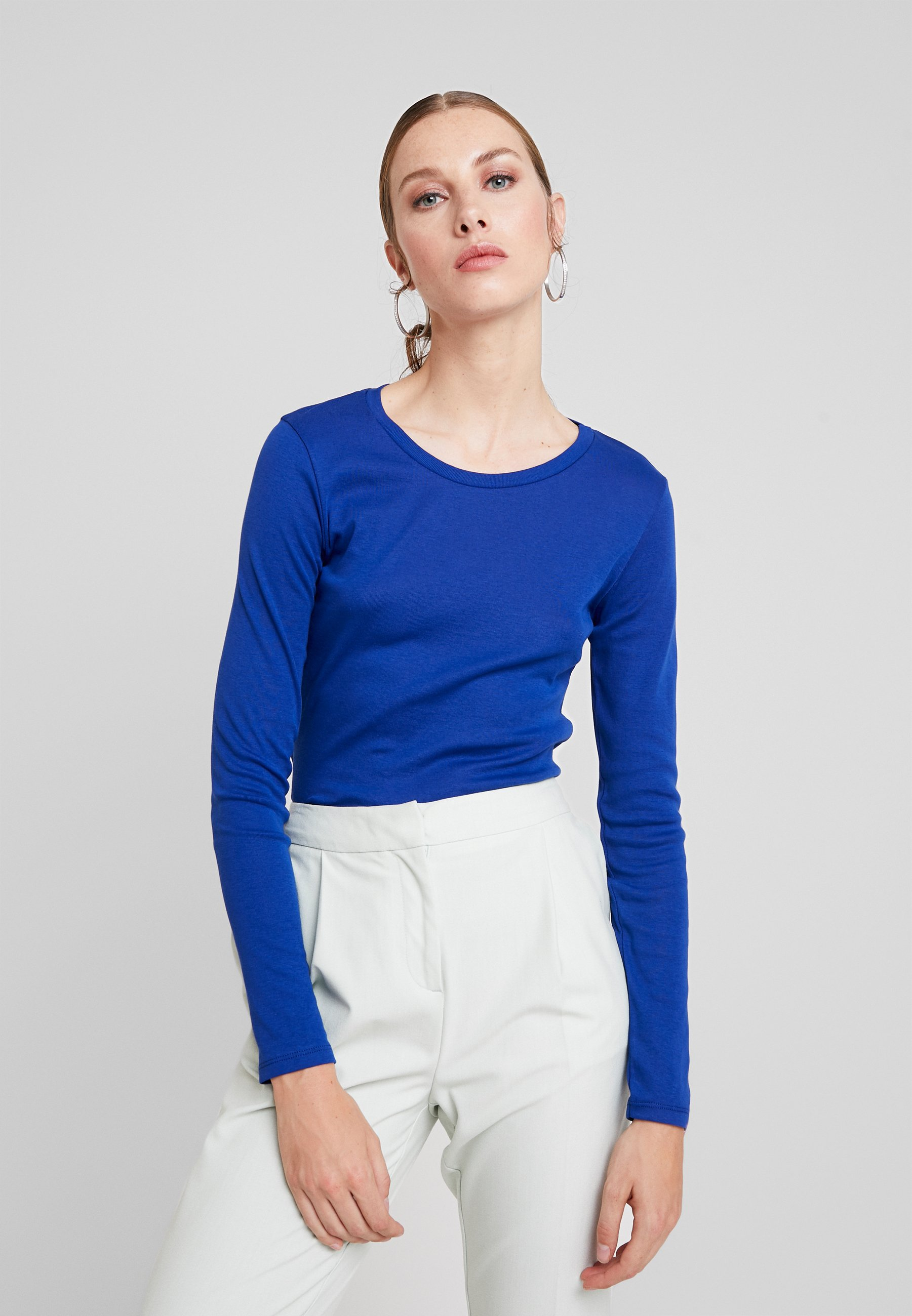 Benetton NeckT Dark Round shirt À Manches Longues Blue Y76gybIfvm
