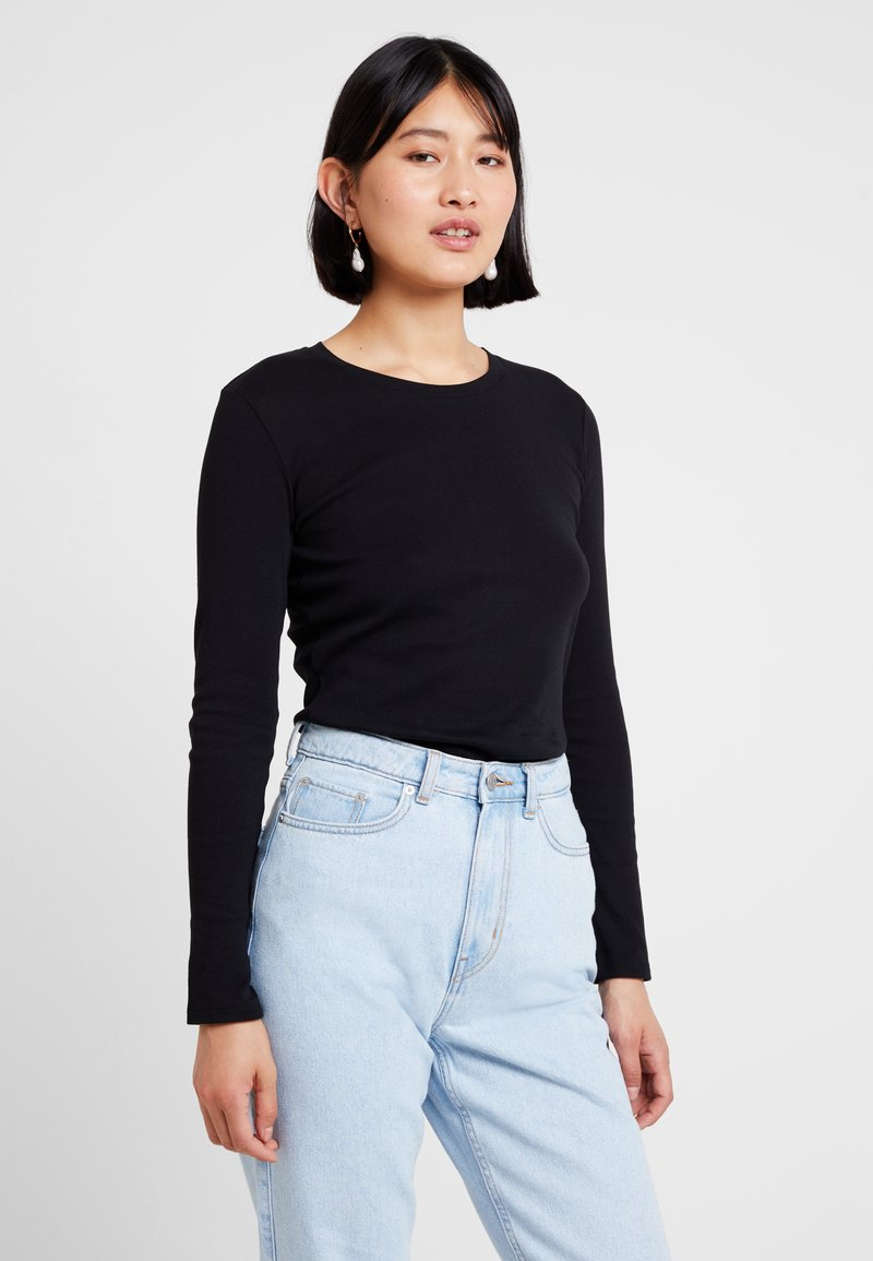 Benetton - ROUND NECK - Long sleeved top - black
