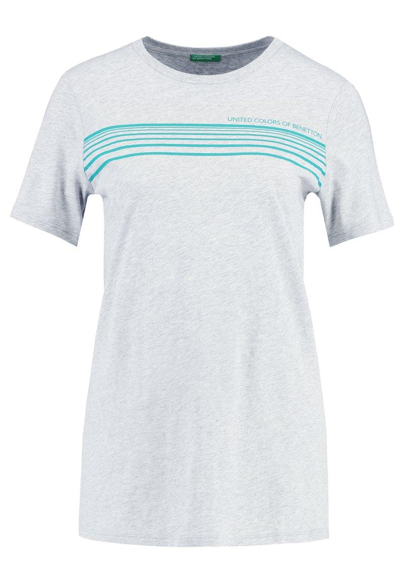 Benetton - ROUND NECK TEE LOGO - T-shirt con stampa - grey