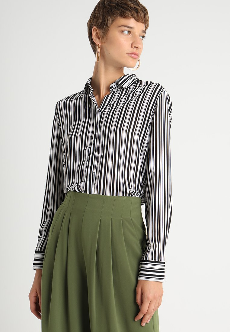 Benetton - STRIPE LOOSE FIT SHIRT - Bluse - white/black