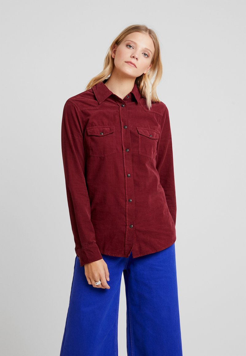 Benetton - SKINNY - Button-down blouse - burgundy