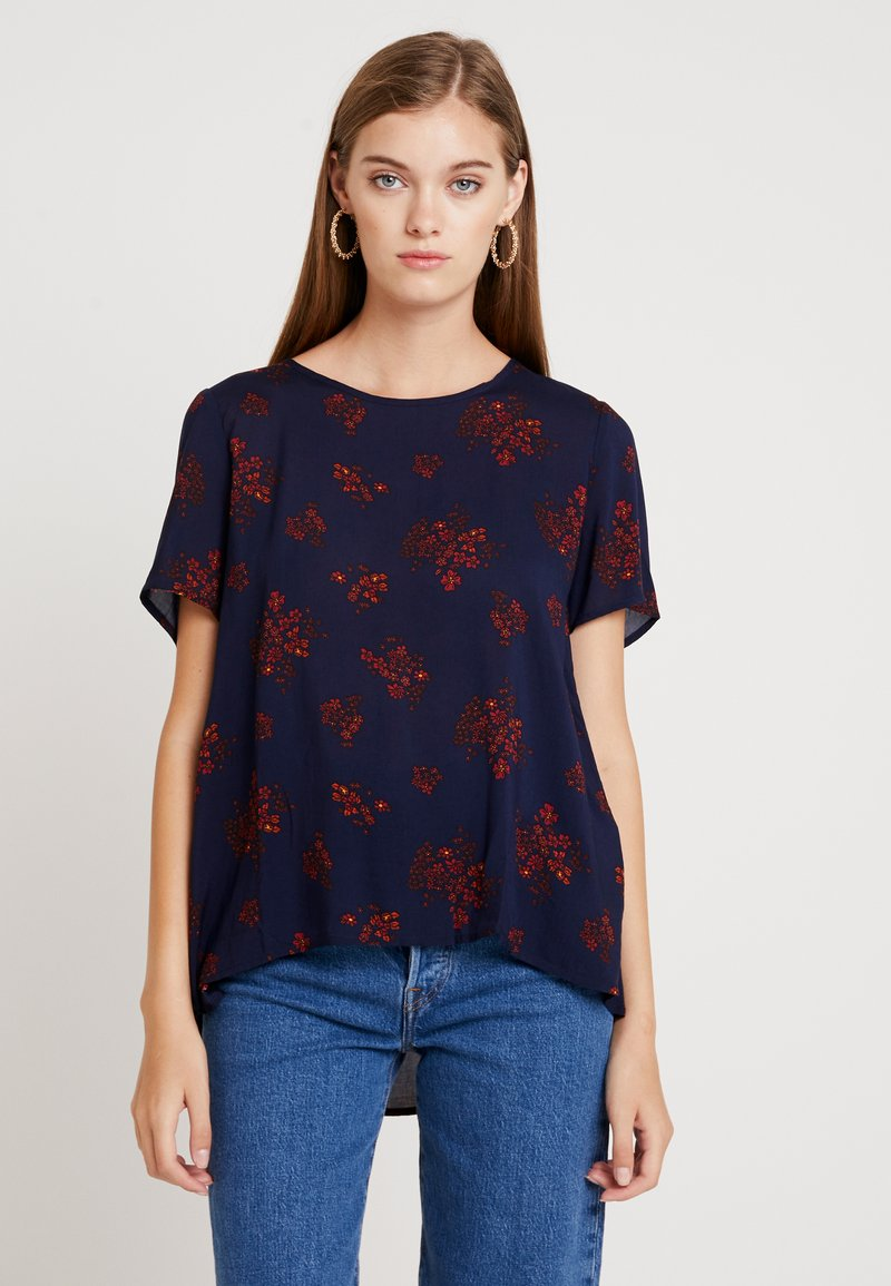 Benetton - PRINTED DRAPEY BACK - Bluse - navy