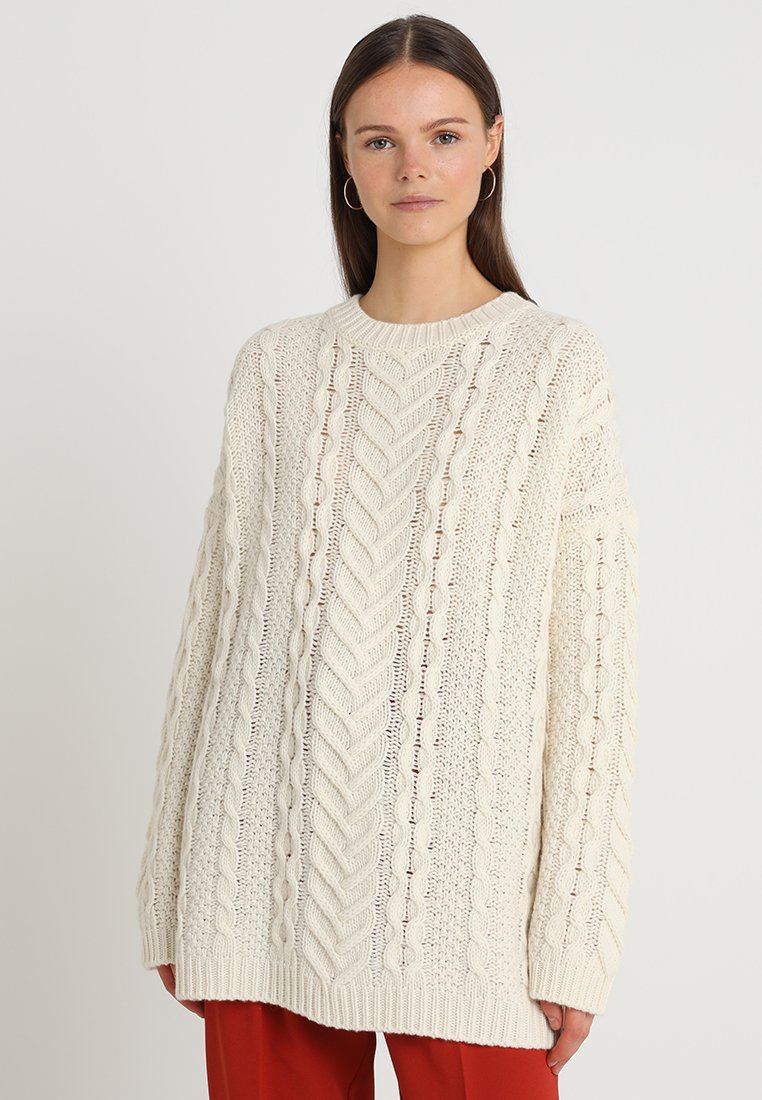 Benetton - CABLE  - Jumper - ivory