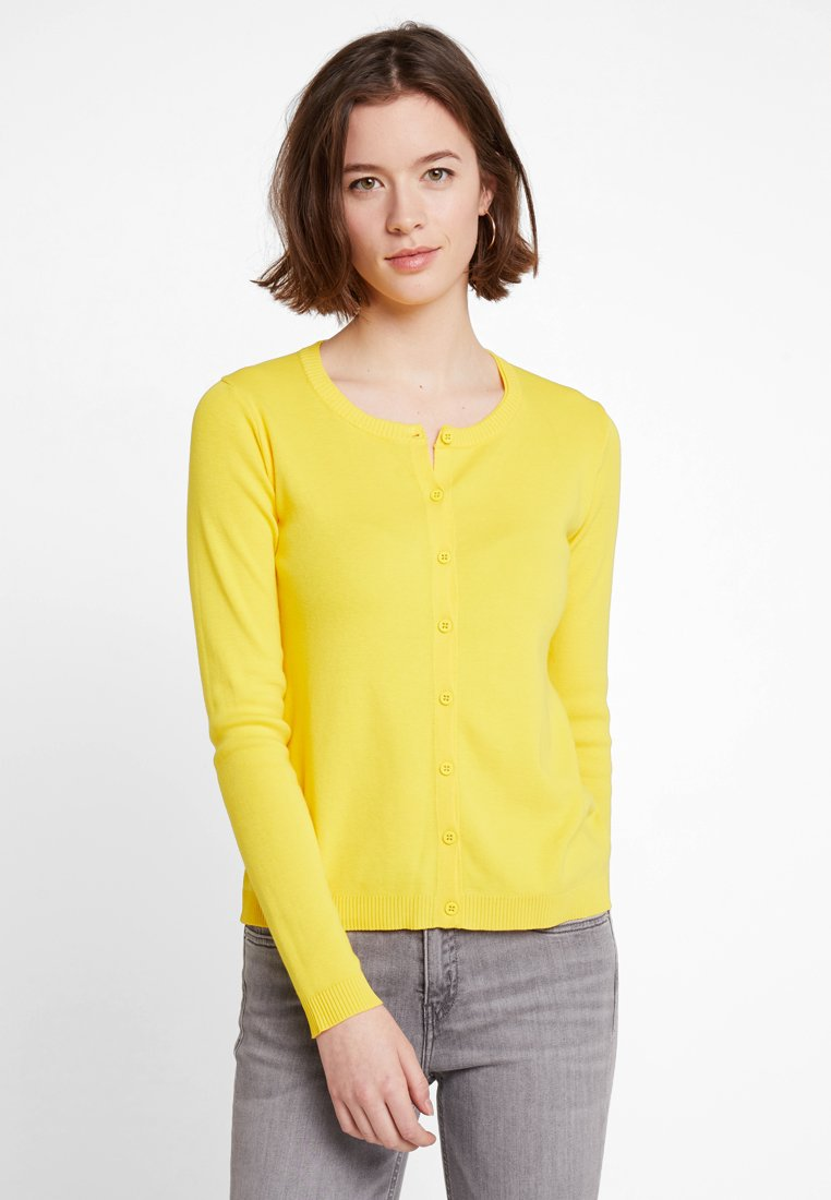 Benetton - ROUND NECK CARDIGAN - Strickjacke - yellow