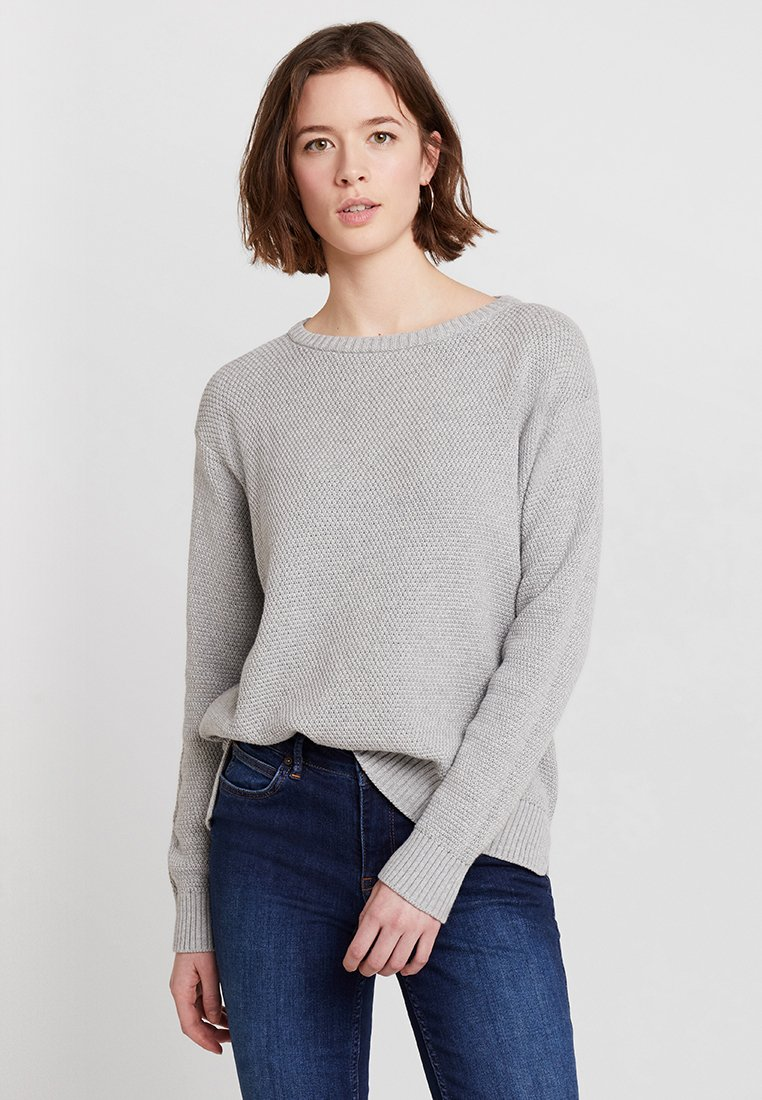 Benetton - ROUND NECK TEXTURED RELAXED FIT JUMPER - Sweter - grey