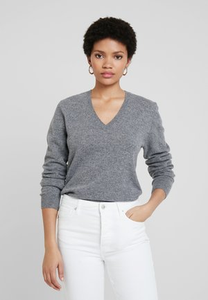 V NECK - Jumper - mid grey