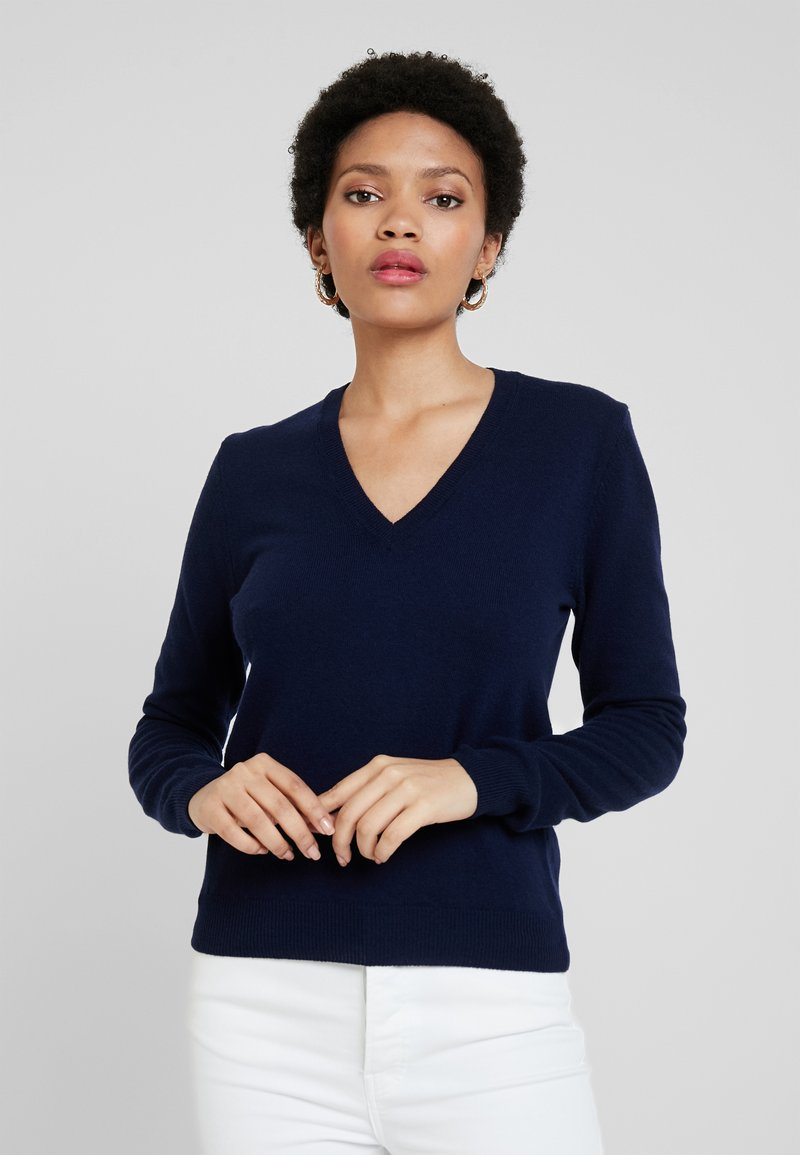 Benetton - V NECK - Pullover - navy