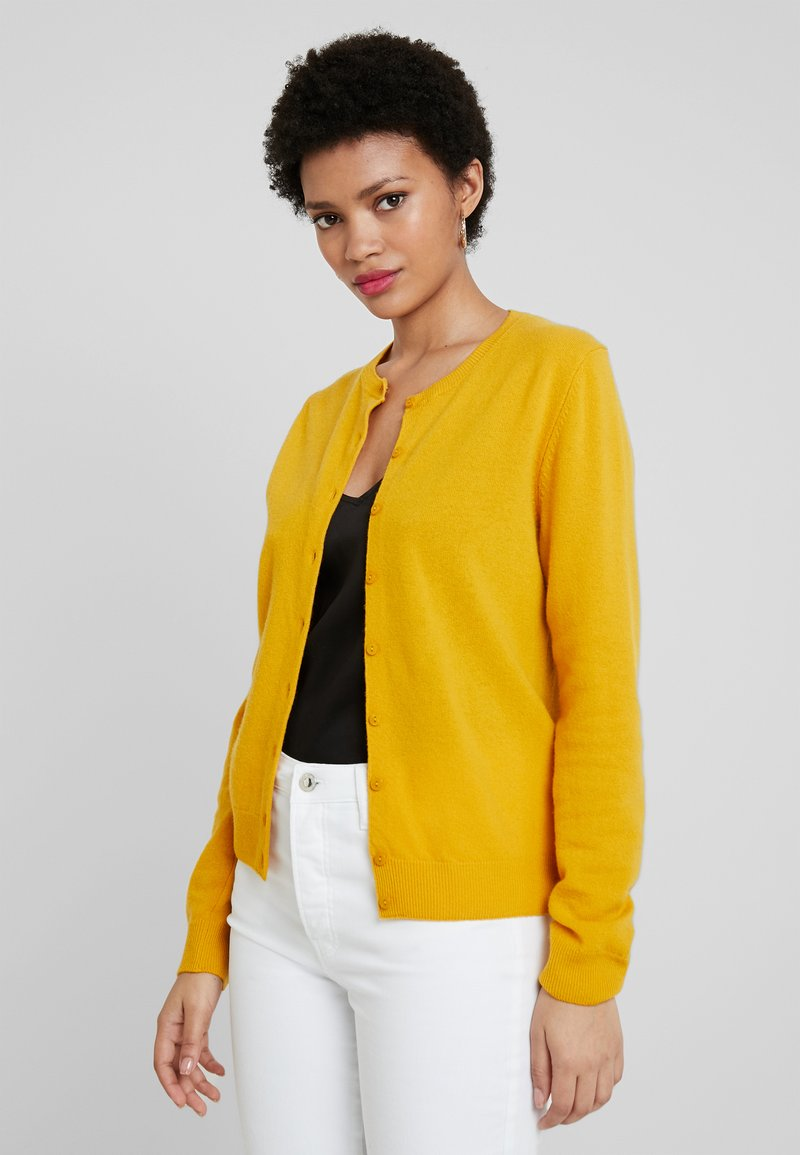 Benetton - ROUND NECK CARDIGAN - Kardigan - mustard yellow
