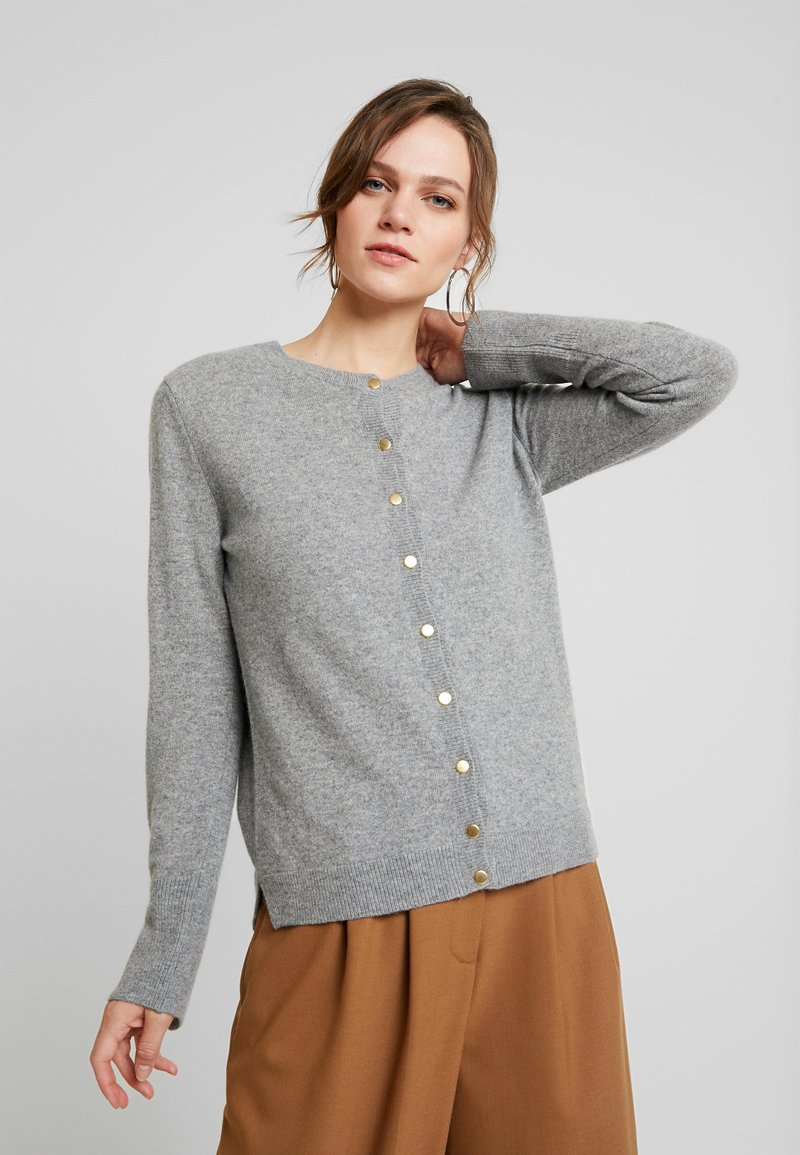 Benetton - MIX CREW NECK CARDIGAN - Kardigan - grey