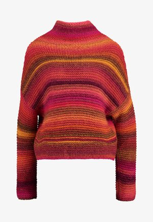 CHUNKY STITCHING TURTLE NECK STRIPE - Stickad tröja - red mix