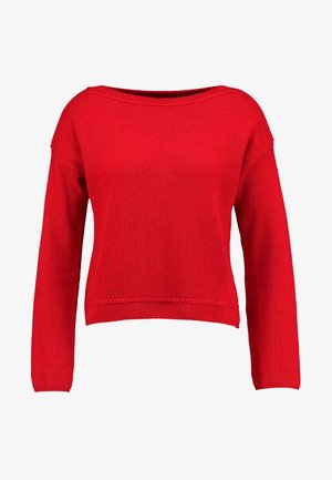 MIX BOAT NECK CROP - Maglione - red