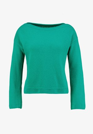 MIX BOAT NECK CROP - Pullover - green