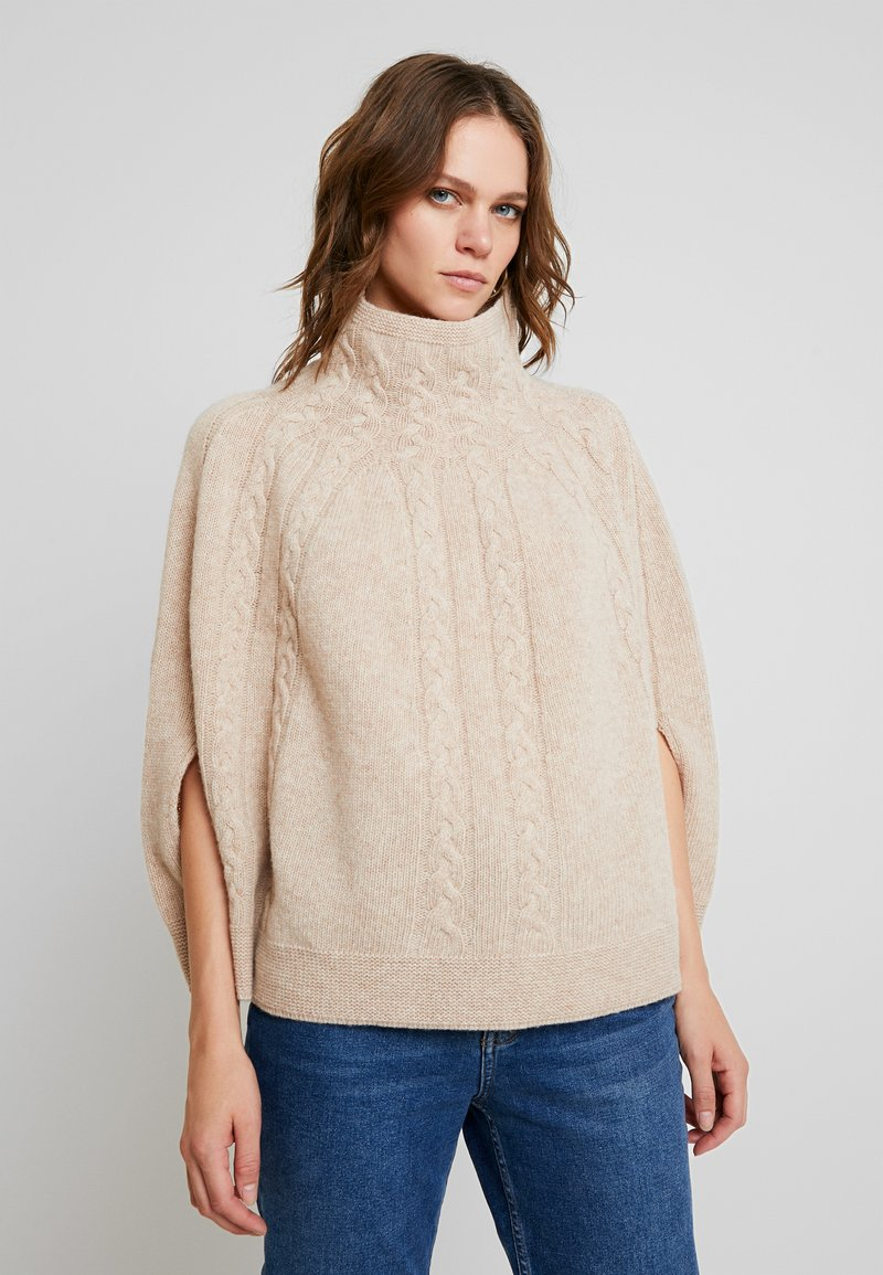 Benetton - MIX CABLE PONCHO - Kapper - beige