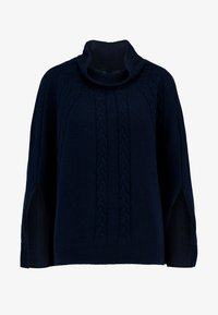 Benetton - MIX CABLE PONCHO - Poncho - navy - 4