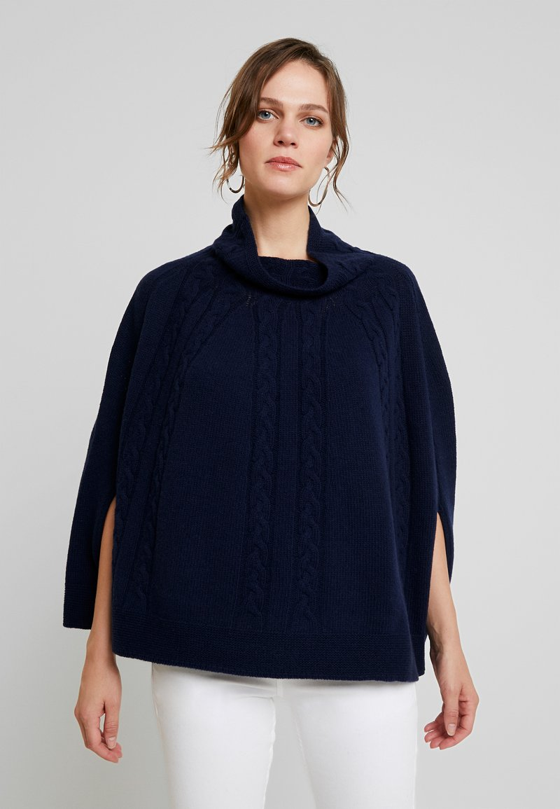 Benetton - MIX CABLE PONCHO - Poncho - navy