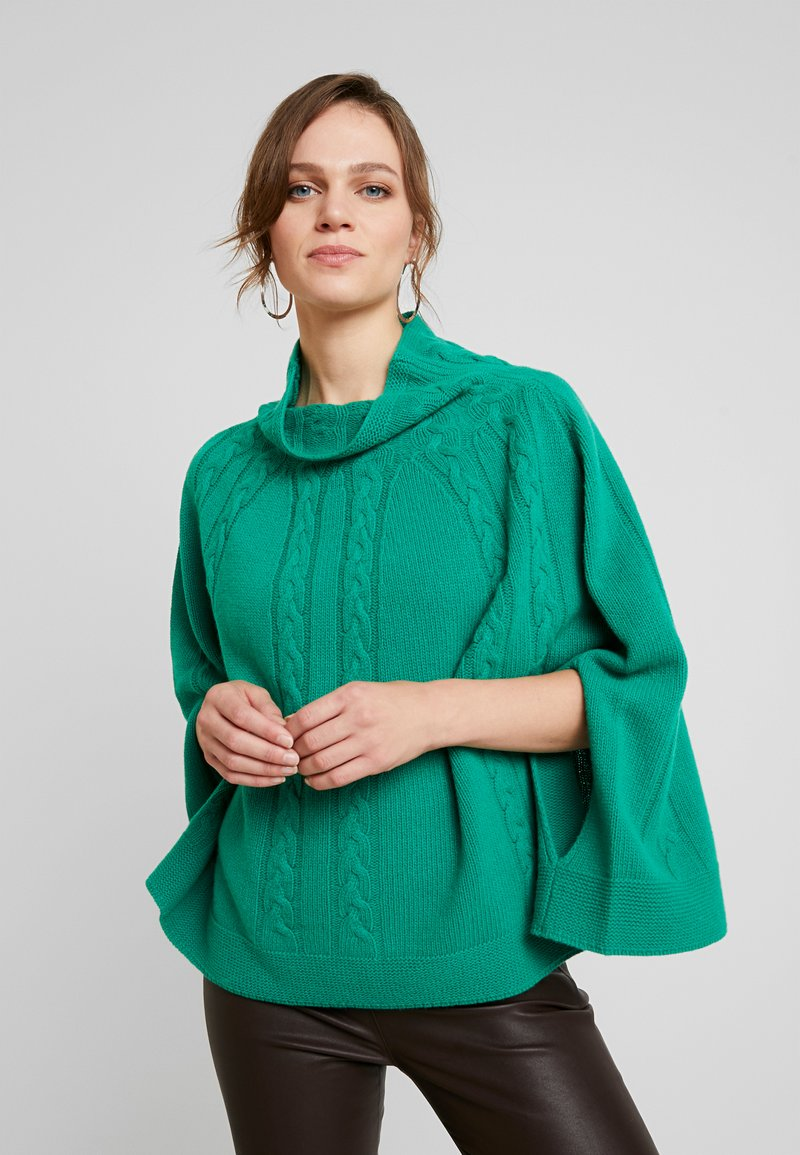 Benetton - MIX CABLE PONCHO - Poncho - green