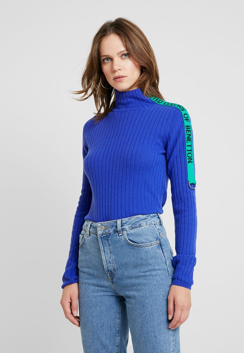 Benetton - TURTLE NECK TAPE DETAIL - Pullover - blue