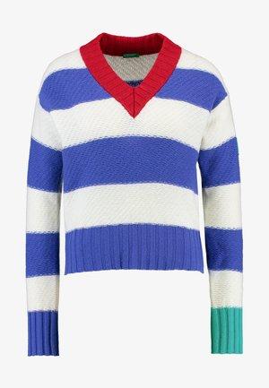 V NECK CROPPED - Sweter - blue/white