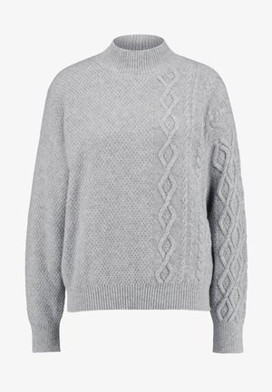 TURTLE NECK SWEATER WITH CABLE DETAIL - Stickad tröja - grey