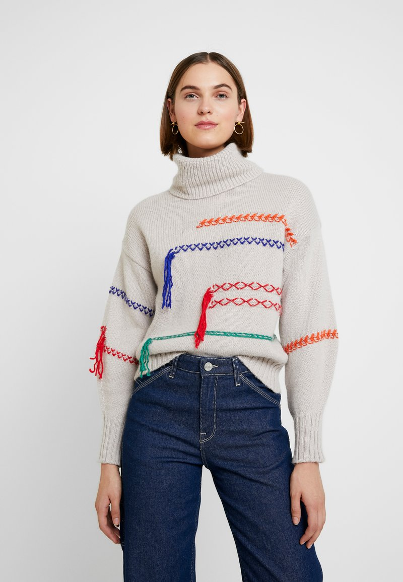 Benetton - MAXI TURTLE NECK JUMPER WITH CONTRAST STITCH DETAILS - Svetr - ivory