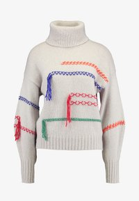 Benetton - MAXI TURTLE NECK JUMPER WITH CONTRAST STITCH DETAILS - Svetr - ivory - 4