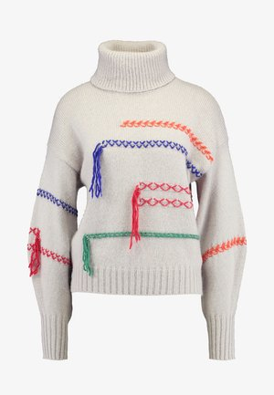MAXI TURTLE NECK JUMPER WITH CONTRAST STITCH DETAILS - Maglione - ivory