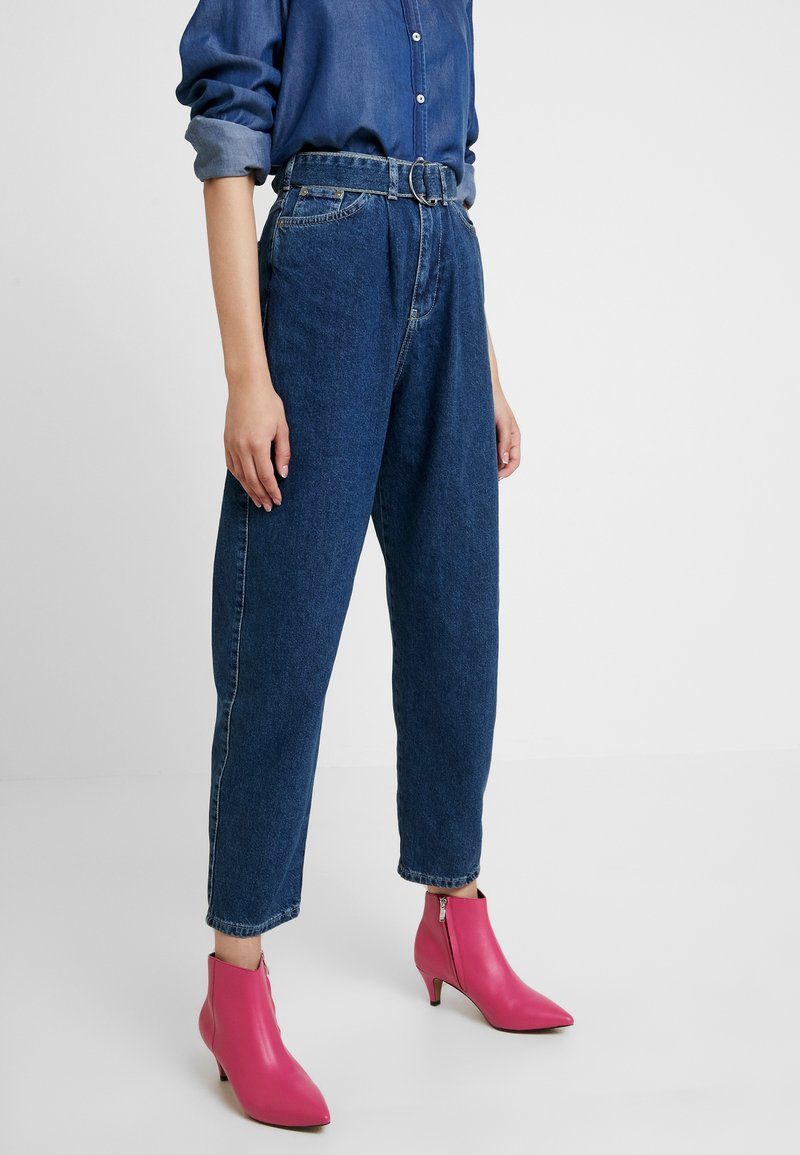 Benetton - PANTS WITH BELT - Relaxed fit jeans - blue