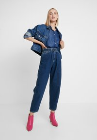 Benetton - PANTS WITH BELT - Relaxed fit jeans - blue - 1