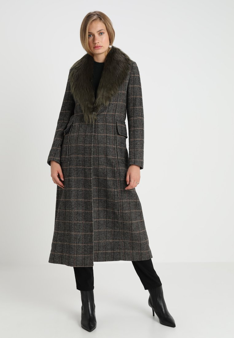 Benetton - CHECK MAXI COAT - Classic coat - brown