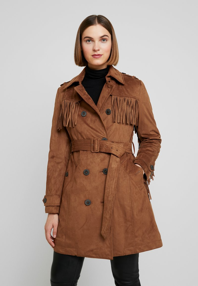 Benetton - TRENCH COAT WITH FRINGES - Prochowiec - brown