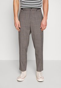 Benetton - RELAXED TROUSERS CHECK - Trousers - grey/blue - 0
