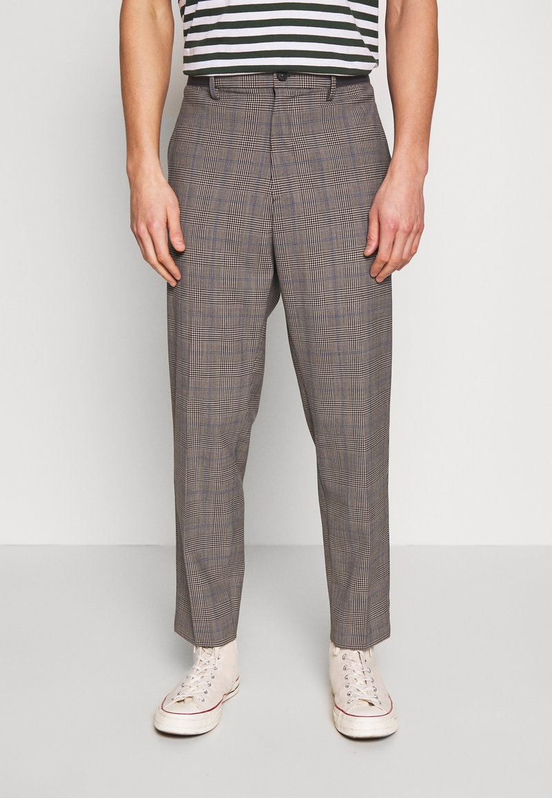 Benetton - RELAXED TROUSERS CHECK - Trousers - grey/blue
