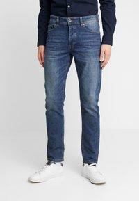 Benetton - SLIM ROLLED UP - Jeans slim fit - dark blue demin - 0
