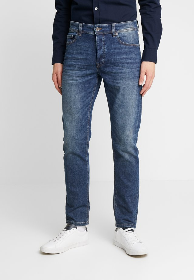SLIM ROLLED UP - Jeans slim fit - dark blue demin