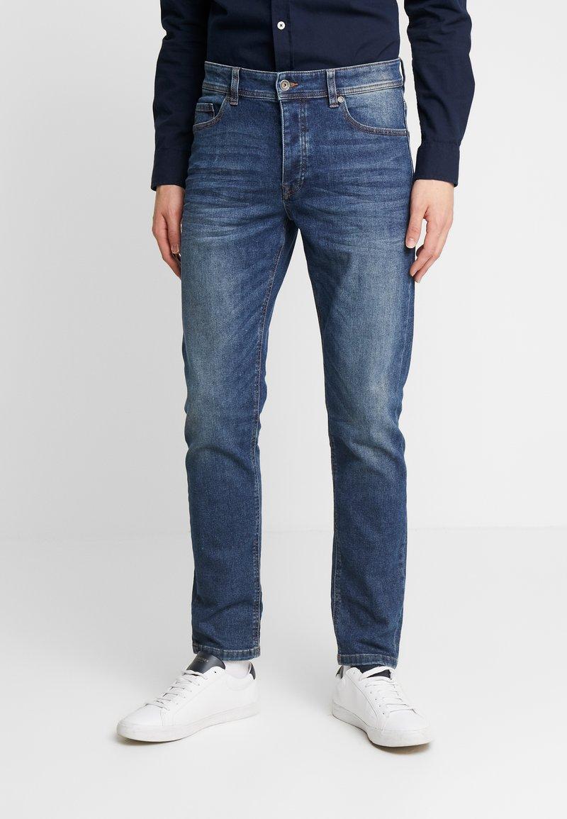 Benetton - SLIM ROLLED UP - Jeans slim fit - dark blue demin