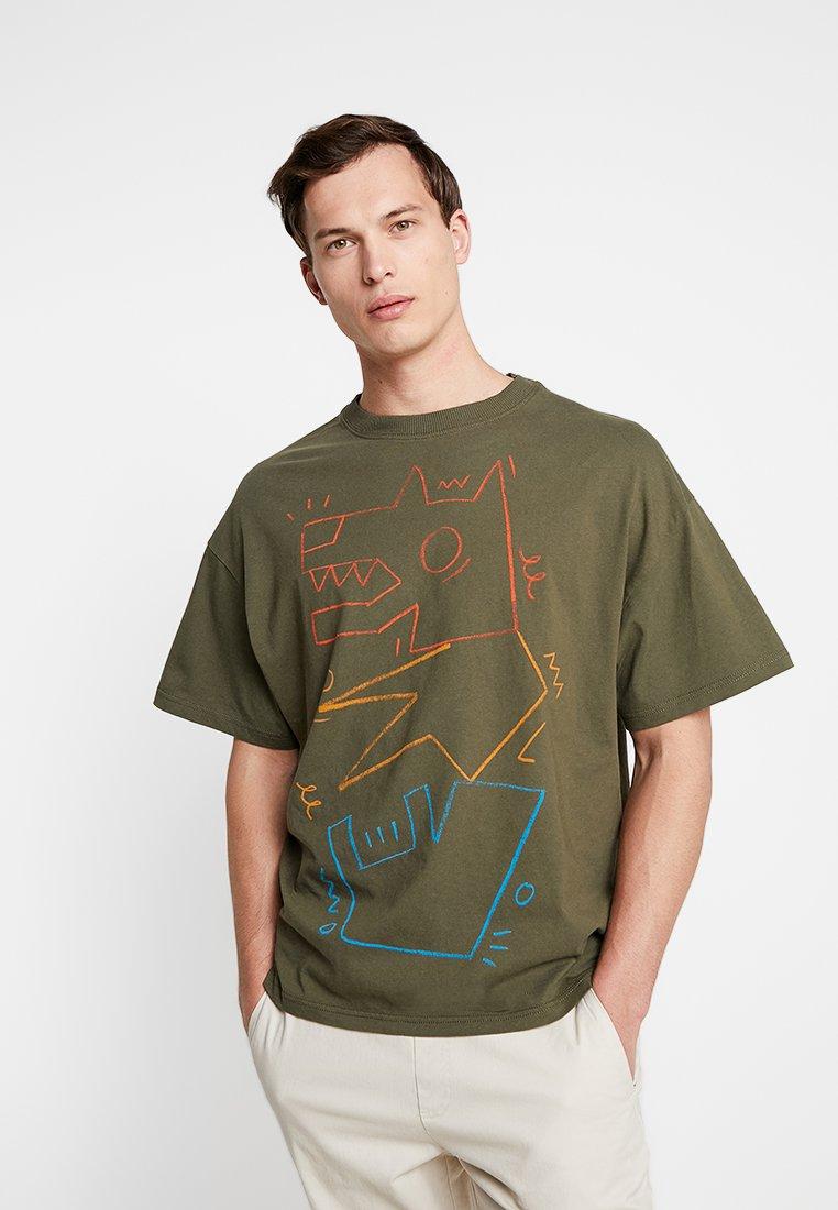 Benetton - Camiseta estampada - oliv