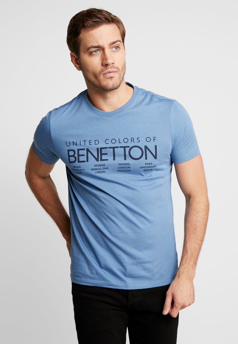 Benetton - Camiseta estampada - bluegrey