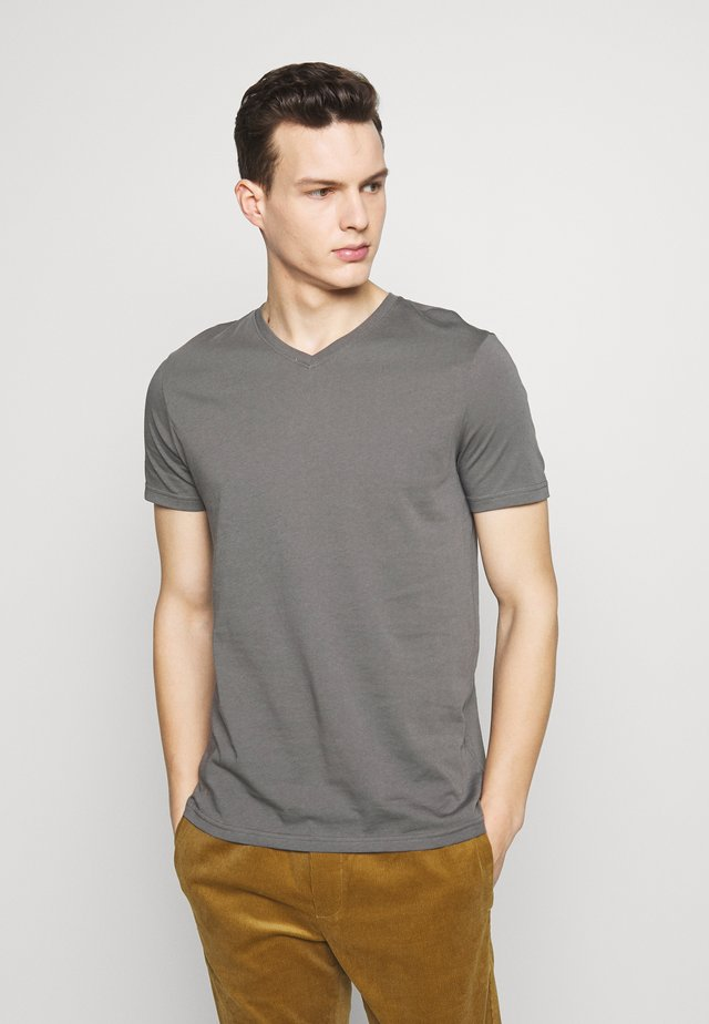 BASIC VNECK - T-shirt basic - anthra