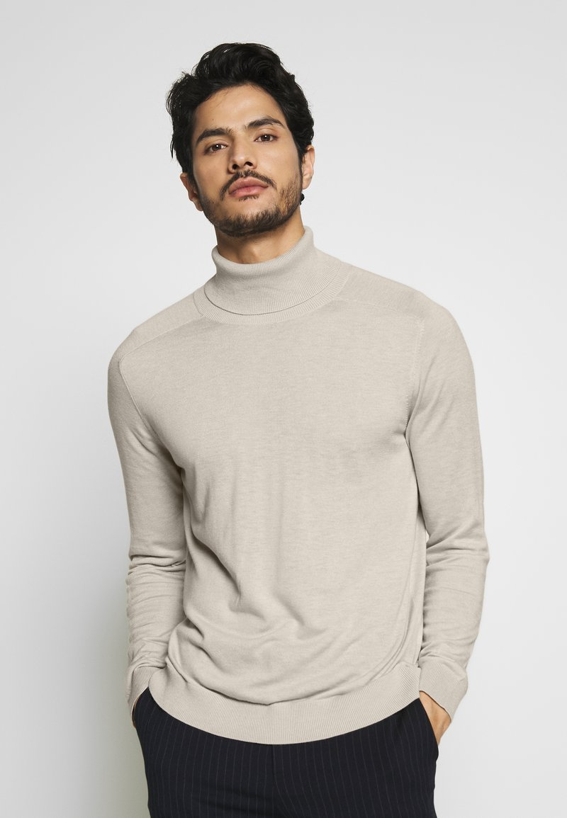 Benetton - ROLL NECK - Strikkegenser - light beige
