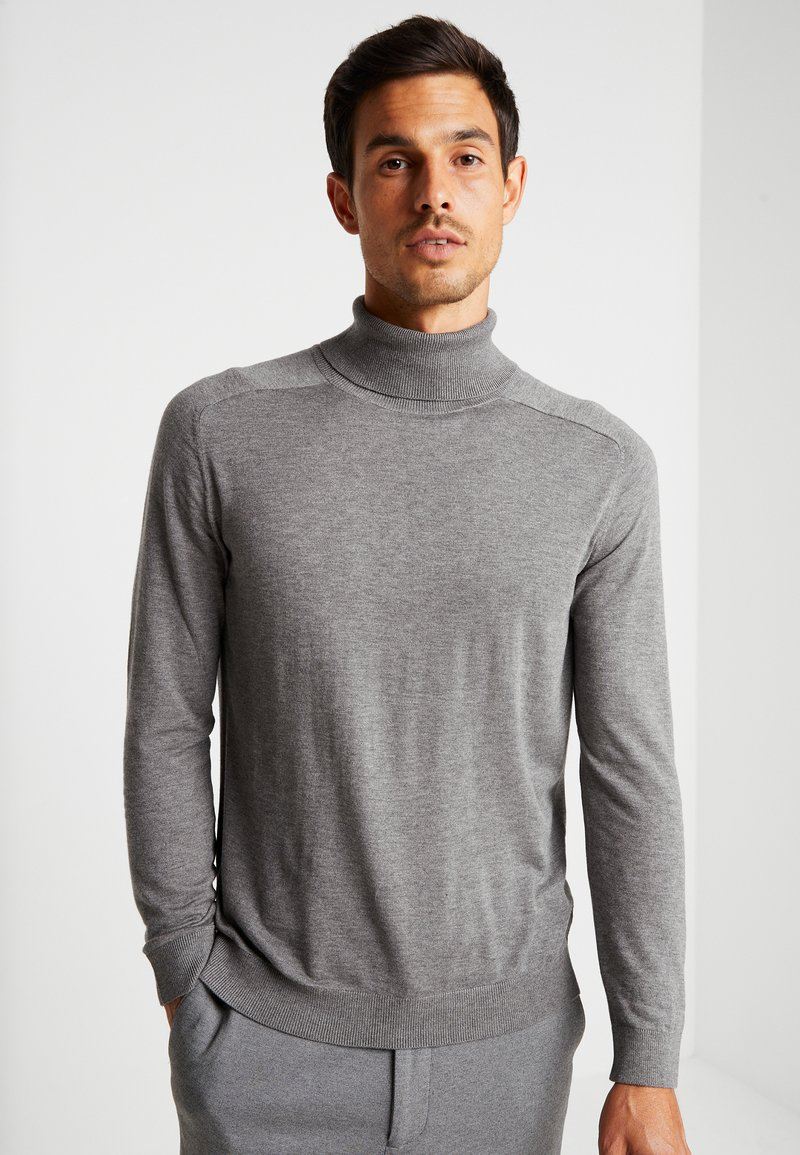 Benetton - ROLL NECK - Sweter - melange dark grey