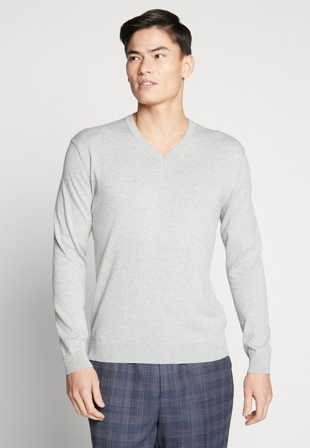 V NECK - Pullover - light grey