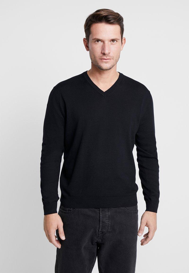 Benetton - V NECK - Stickad tröja - black