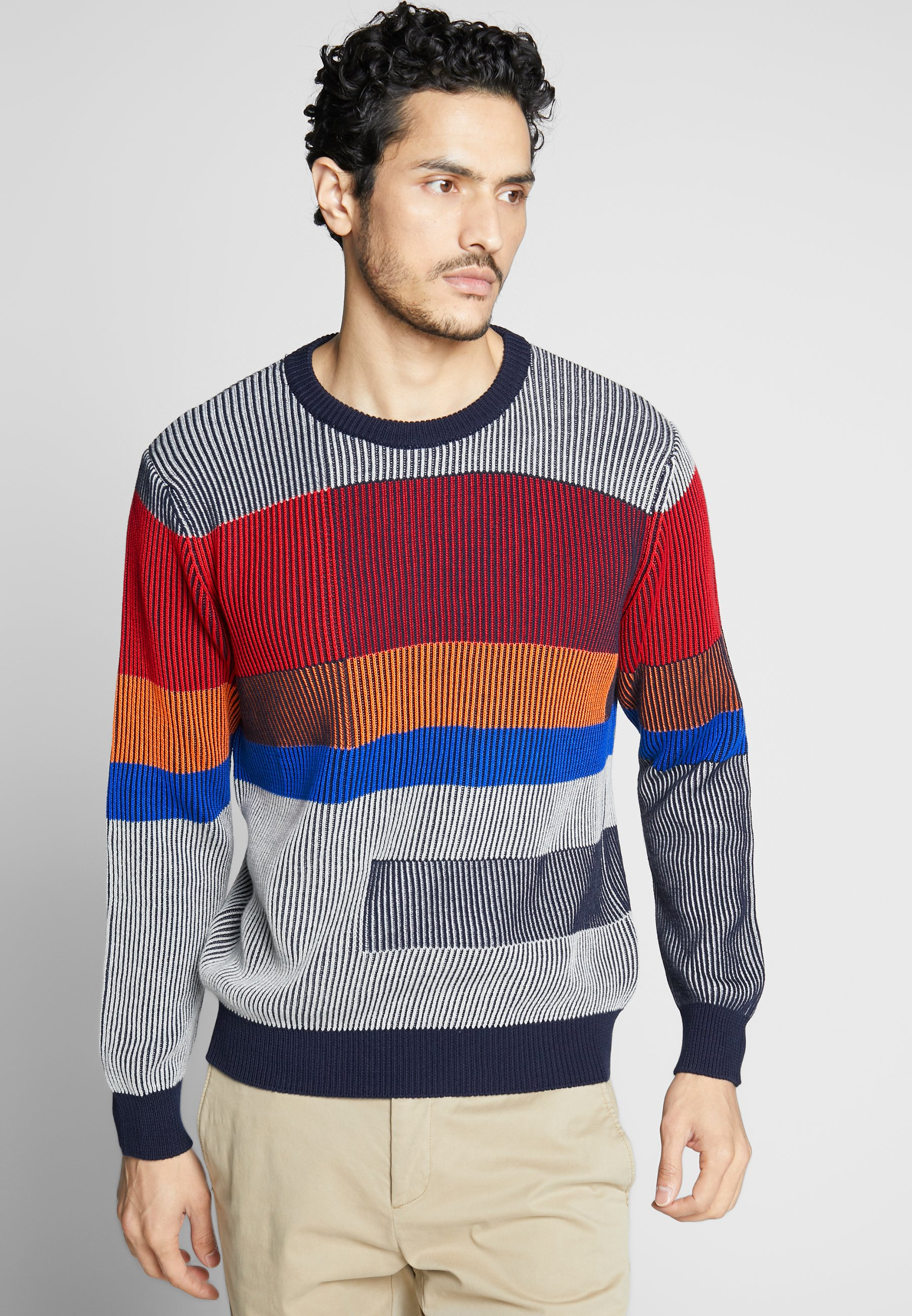 Benetton COLOR BLOCKING - Sweter - grey