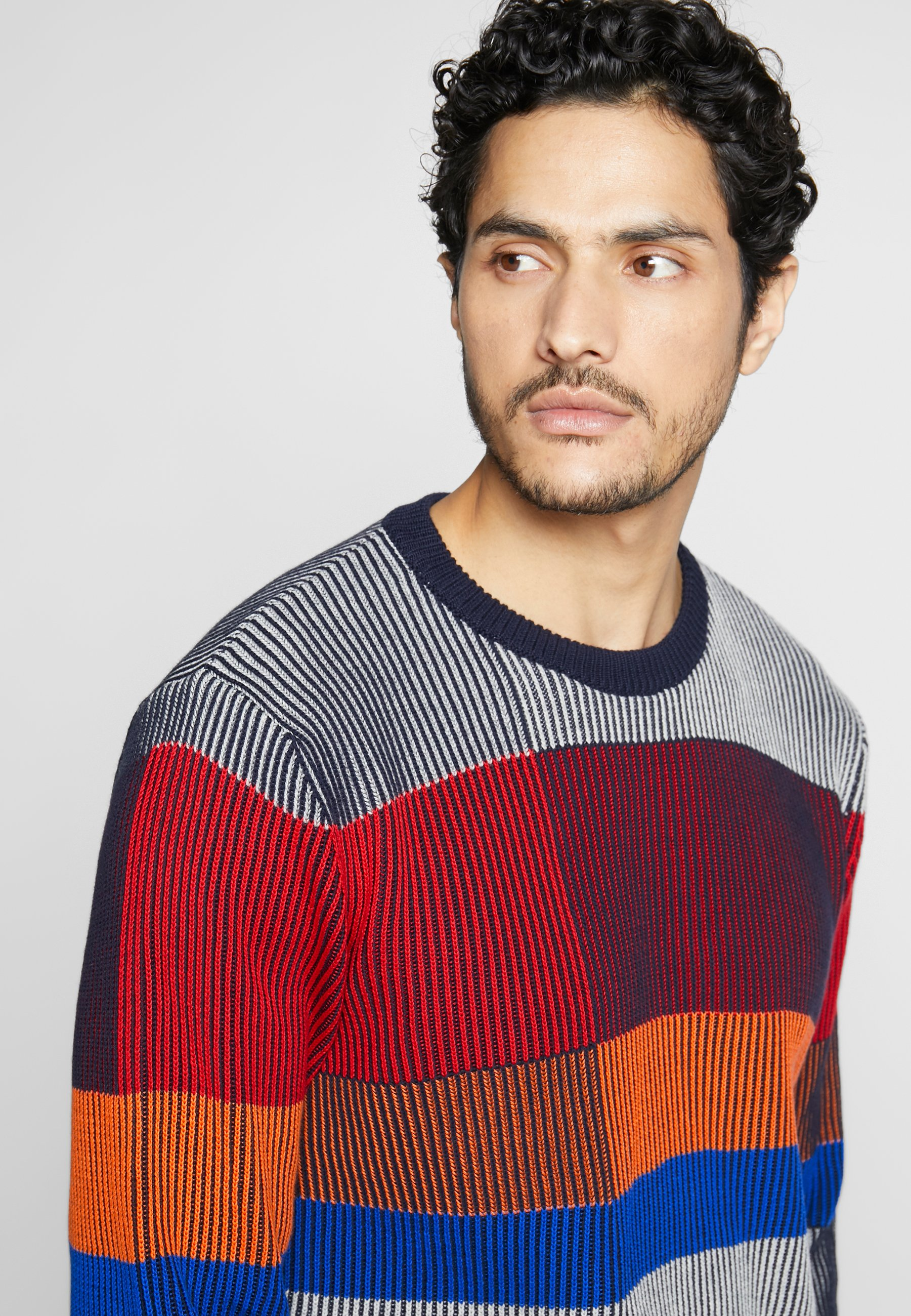Benetton Color Blocking - Pullover Grey