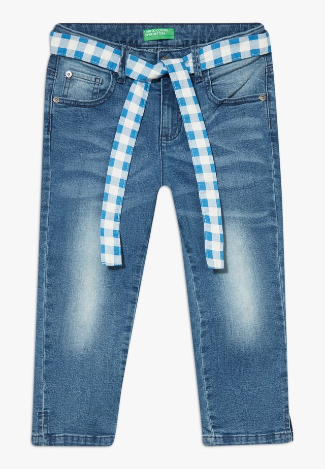 TROUSERS BELT - Denim shorts - blue denim