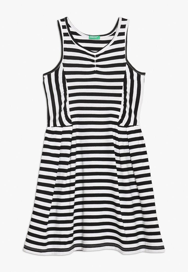 Benetton - DRESS - Vestido ligero - white/black