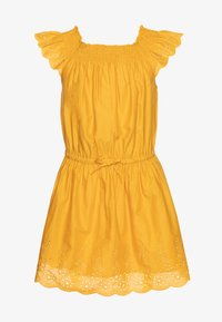 Benetton - DRESS - Korte jurk - mustard yellow - 0